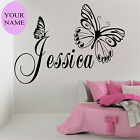 GIRLS NAME Personalised Wall Art Sticker Birthday Gift Vinyl Butterfly Transfer