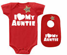 AUNTIE SF - 2 Piece Baby Vest & Bib Gift Set Red & White 100% Cotton
