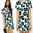 Women Sexy Leopard Summer Casual Evening Cocktail Party Mini Dress Salable LX