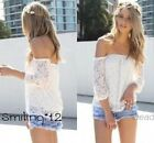 Women Lace Shirt Off Sleeve Loose Blouse Embroidery Top