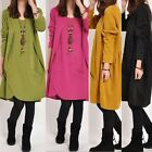 New Spring Women Cotton Ladies Long Sleeve Casual Winter Autumn Dress Loose Tops