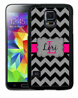 PERSONALIZED RUBBER CASE FOR SAMSUNG NOTE 3 4 5 BLACK GRAY CHEVRON HOT PINK