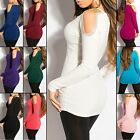 Women's Knit Cold-Shoulder Sweater Top with Pearls - S/M (US 2-4-6)