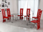 Modern Glass Chrome & Faux Leather 4 or 6 Seat Dining Table & Red Chairs Set