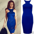 Women Sexy Blue Fitted Sleeveless Bodycon Evening Cocktail Party Dress