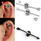 1p Skull Stainless Steel Long Industrial Barbell Earring Cartilage Body Piercing