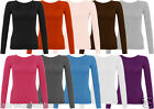 Women's Long Sleeve Round Neck Plain Basic Ladies Stretch T-Shirt Top
