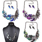 Fashion Peacock Design Crystal Rhinestone Hook Earrings Necklace Set Jewelry
