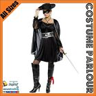 Womens Zorro Musketeer Bandit Mexican Crusader Ladies Fancy Dress Costume 8 - 14