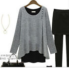 Women Girl Stretch Tops Long Sleeve Cotton Tunics Round Neck Tee Loose Blouse