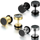 Carbon Fiber Barbell Dumbbell Men's Women's Stainless Steel Stud Earrings 2Pcs