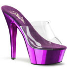 "PLEASER KISS201/C/PPCH Sexy Purple Chrome Platform 6"" High Heels Stripper Shoes"
