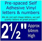 "QTY of: 4 x 2½""  64mm HIGH STICK-ON  SELF ADHESIVE VINYL LETTERS & NUMBERS"
