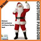 Mens Adult Santa Claus Christmas Deluxe 10 Piece Suit Xmas Costume All Sizes