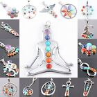 1pc Healing 7 Chakra Gemstone Bead Floral Crown Wings Cross Pendant Fit Necklace