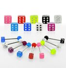 "1pc. 14GA~5/8"" (16mm) 316L Steel Tongue Ring Barbell with Acrylic Ball & Dice"