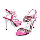 Women Rhinestone Strappy Stiletto Sexy High Heels Pink Rose Evening Party Shoes