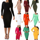 New Sexy Long Sleeve Bodycon Stretch Mid Calf Dress Jr's Plus Size XL-3XL GT5639