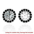 Black AAA Diamond Solitaire Halo Stud Bridal Earrings Jackets 14K White Gold