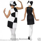 CL203 1960s Party Girl Black White Disco 1970s Groovy Go Go DanceParty Costume