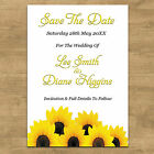 Personalised Sunflowers Wedding Save The Date Cards Invites With Free Envelopes