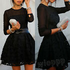 Sexy Women Lace Hollow Splicing Long Sleeve Bandage Bodycon Evening Party Dress