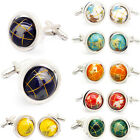 Honey Bear Black White Silver Round 3D Rotatable Spinning  World Map  Cuff Links