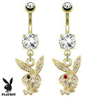 14kt Gold Plated Playboy Bunny Dangle Belly Bar 1.6 x 10mm