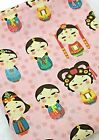 Korean dolls 100% Cotton Fabric BY HALF YARD Hanbok girls doll Quilting JC2/61+