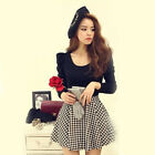 New Women Casual Dress European Style Long Sleeved Plaid Print Dresses Applied