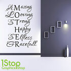 MOTHER LOVE WALL STICKER QUOTE - BEDROOM LOUNGE MUM HOME WALL ART DECAL X190
