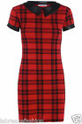 Women Peter Pan PVC Wet Look Collar Tartan Red Shift Bodycon Dress