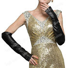 Women's Ladies Black Winter Long Opera Evening Party Leather Fingerless Gloves