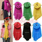Women Candy Colors Cotton Linen Crinkle Soft Long Voile Scarf Wrap Shawl Stole