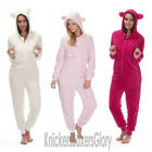 Womens/Ladies Soft Fleece Hooded Onesie & Ears All In One Size 8, 10,12,14,16,18