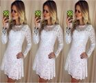 Elegant Lady Lace Floral White Long Sleeve Prom Ball Gown Top Selling Dress - CB
