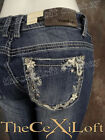 Womens GRACE IN LA Straight Leg Jeans Fancy Leather Florals with Crystals!