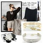 Womens Girls Full Metal Waistband Belt Plating Hollow Carved Belt With Chain CB
