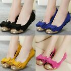 Ladies Genuine Leather Bow Tie Sequins Ballerina Dolly Pumps Loafers Shoes B-887