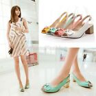 Ladies Peep Toe Bow Tie Block Mid Heel Slingbacks Sandals Shoes Plus Size C-44
