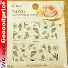 Color Printing Water Tranfer Nail Art Stickers Gift Butterfly Flower Style 6-34