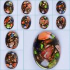 40mm Multi-color sea sediment jasper copper oval cab cabochon