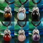 Hot Sale Healing Chakra Gemstone Stone Owl Animal Charm Bead Pendant Jewelry