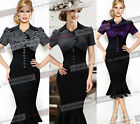 Womens Elegant Vintage Puff Sleeve Colorblock Cocktail Party Bodycon Dress 270