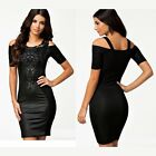 Women's Bodycon Lace Leather Long Sleeve Evening Sexy Party Cocktail Mini Dress