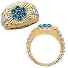 0.75 Carat Blue Diamond Cluster Promise Mens Ring 14K White Yellow Two Tone Gold