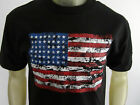 USA flag distressed America Veteran style tee shirt men's black choose A size