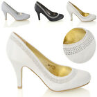 WOMENS SATIN LOW MID HEEL BRIDAL DIAMANTE PROM SLIP ON WEDDING LADIES SHOES 3-8