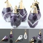 Random Faceted Stone Teardrop Drop Gemstone Dangle Charm Pendant Jewelry