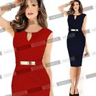 New Sleeveless Pencil Style Bodycon Cocktail Party Mini Dresses Belt Buckle 8-18